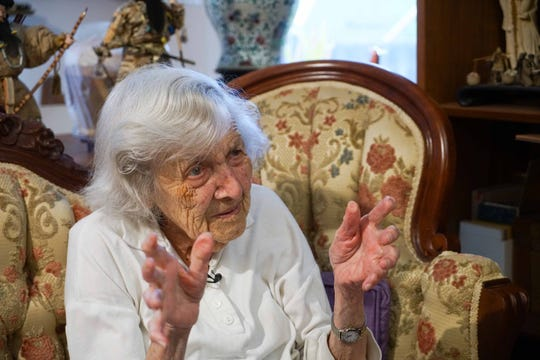 June Kleban, 95, of Arden, recalls her time spent on a farm during time with the Women's Land Army during World War II.