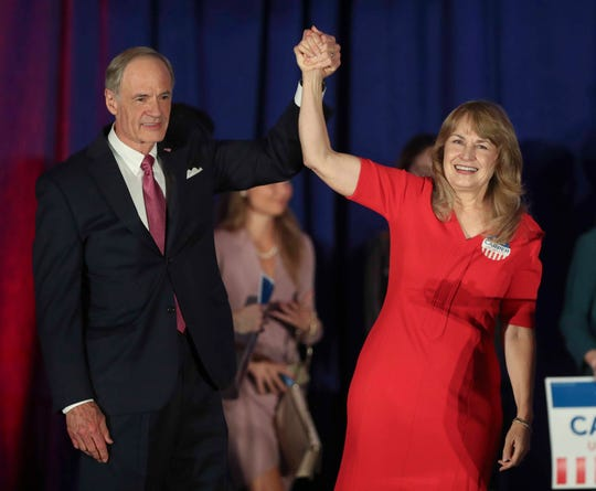 US Senator Tom Carper and wife Martha greet supporters at the DoubleTree Hotel in Wilmington after winning reelection against Rob Arlett Tuesday.