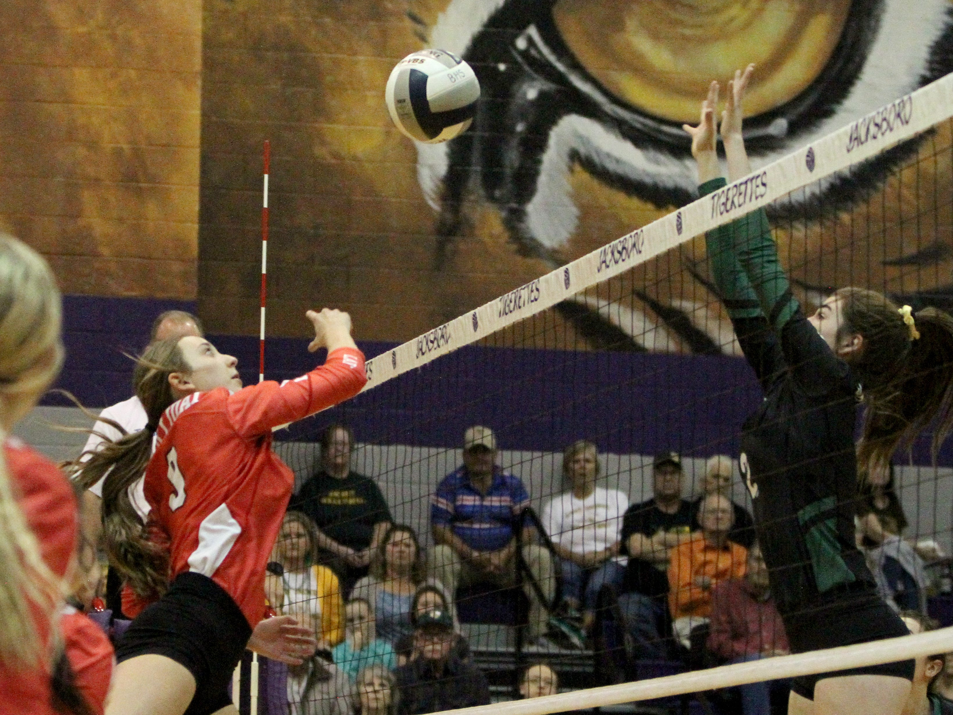 Holliday's Brittany James sends the ball over to Boyd in the regional quarterfinal Tuesday, Nov. 6, 2018, in Jacksboro. The Lady Eagles were defeated by the Lady Jackets 3-0.