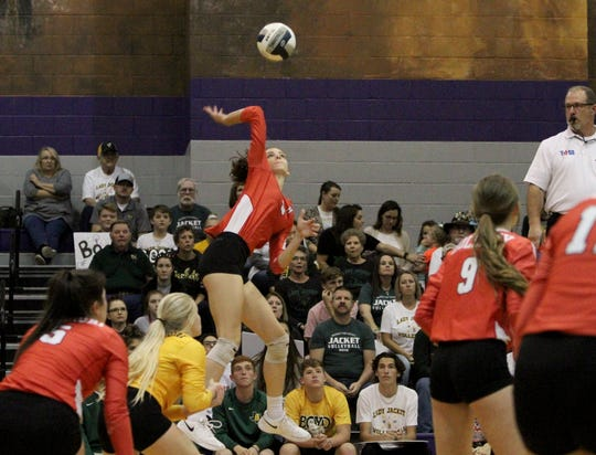 Holliday's Brea Box spikes the ball against Boyd in the regional quarterfinal Tuesday, Nov. 6, 2018, in Jacksboro. The Lady Eagles were defeated by the Lady Jackets 3-0.