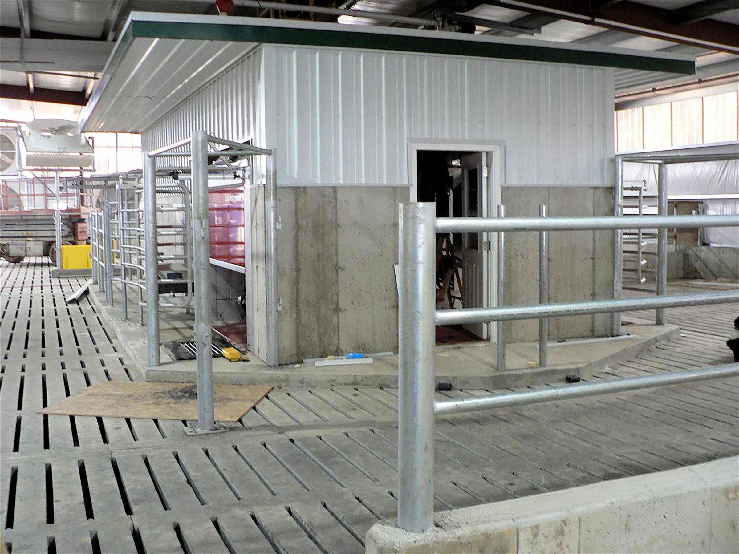There are two milking centers, each with two robots, one on each side..