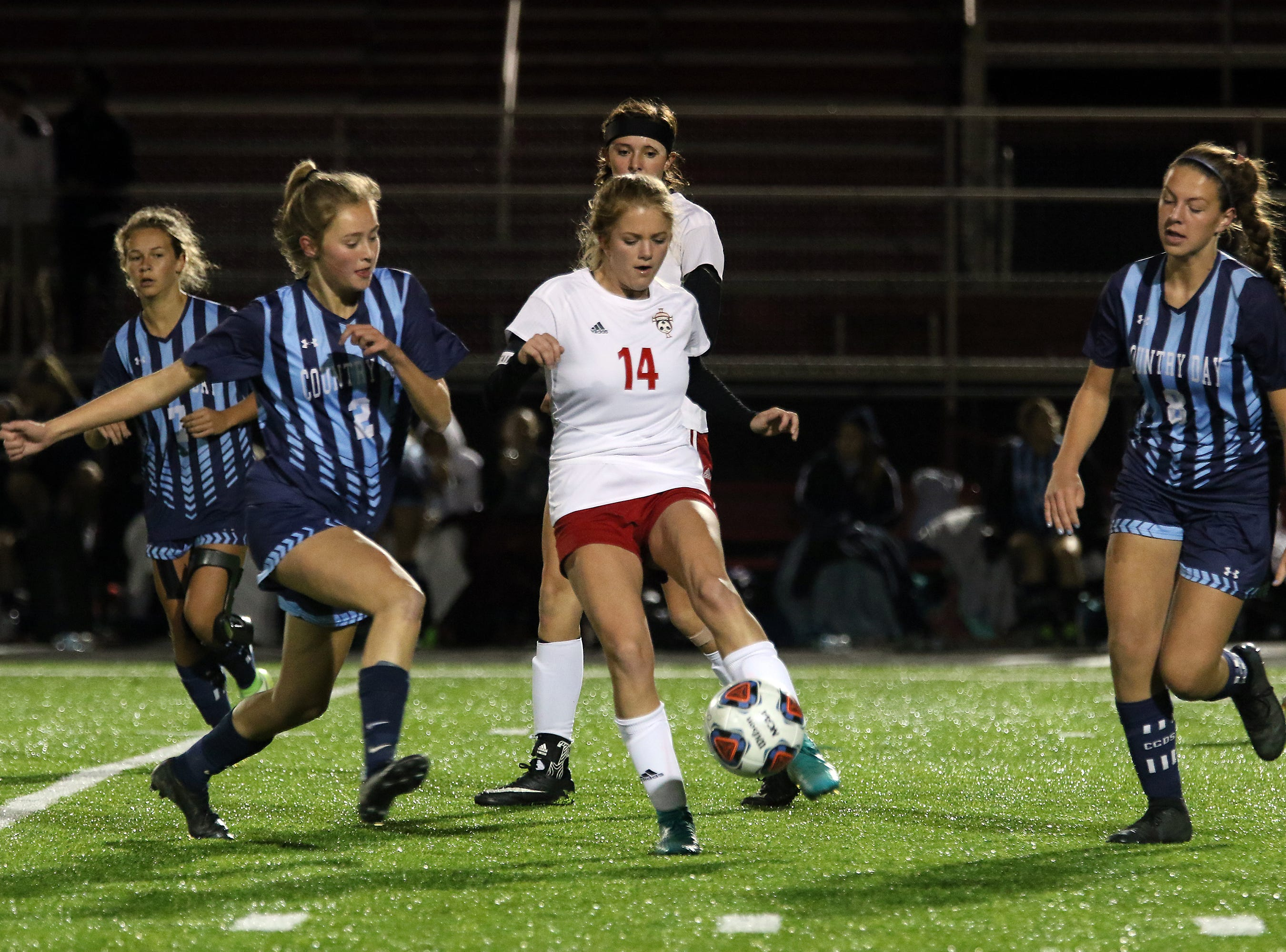 Rosecrans' Emma Zemba passes the ball against CCD in the Division III state semifinals at London High School on Tuesday.