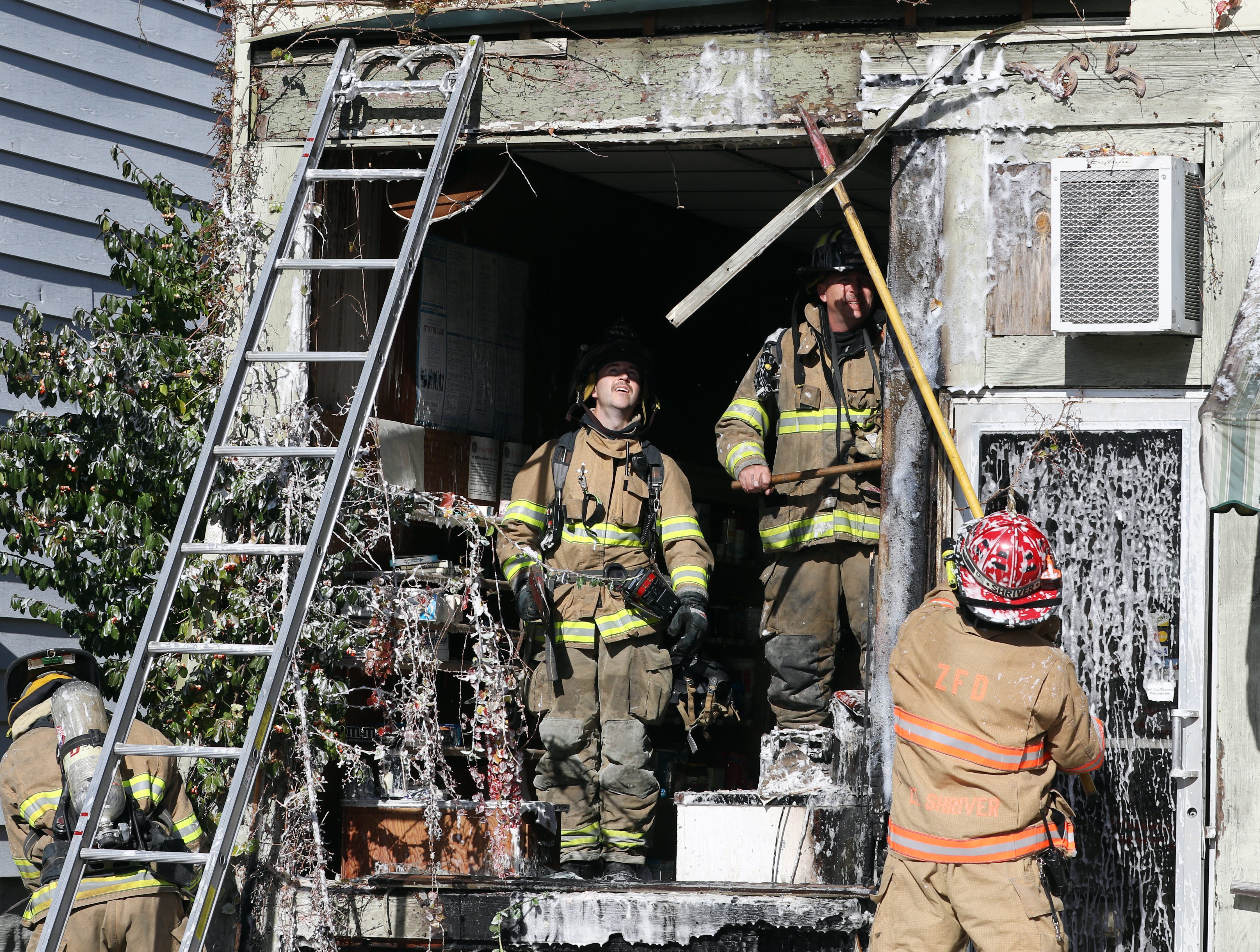 The Zanesville Fire Department extinguished a fire at the former Kimbles Meat Market on McIntire Avenue in Zanesville on Wednesday. The fire was confined to the exterior fo the abandoned building.