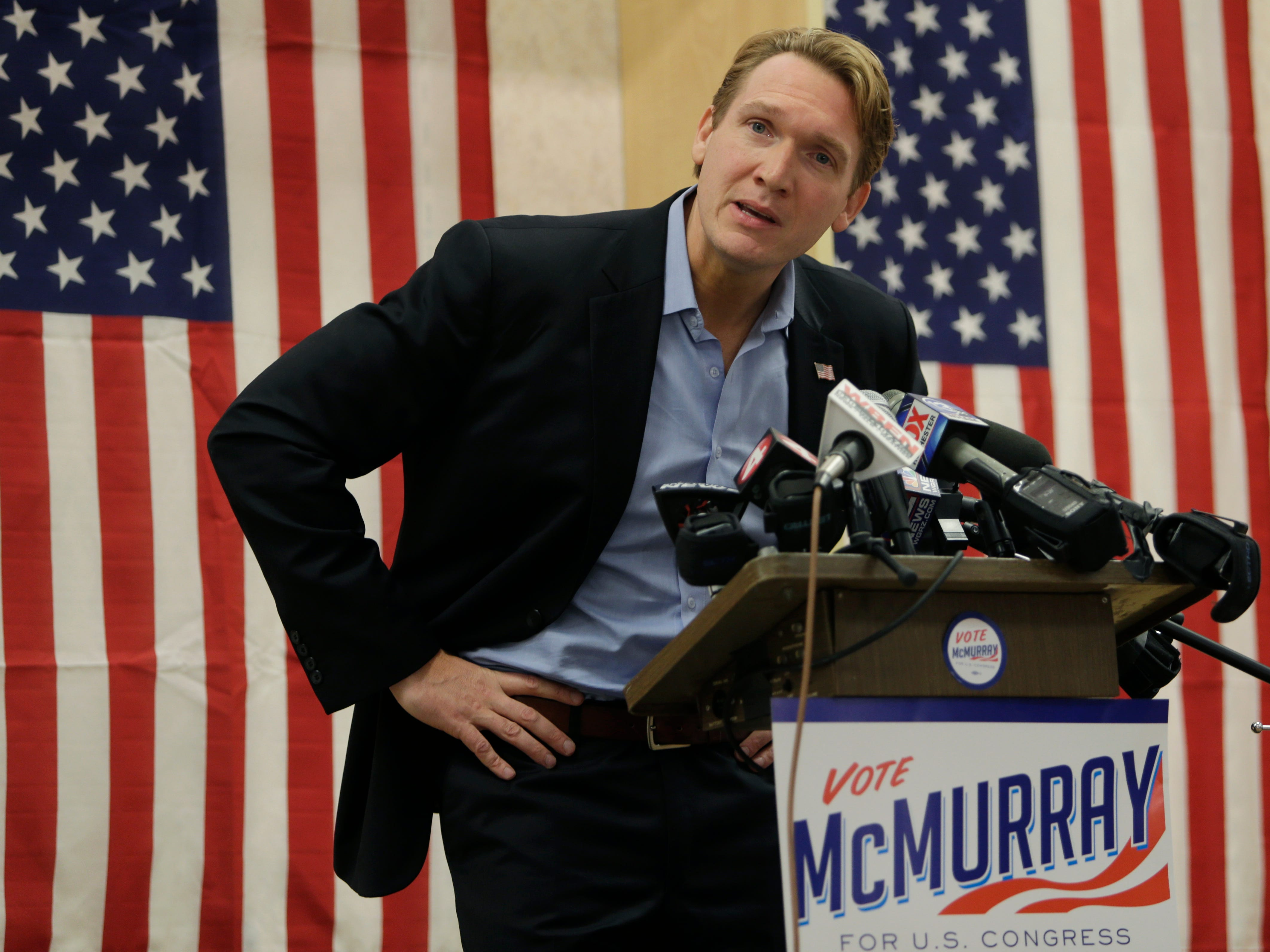 Democratic Congressional candidate Nate McMurray makes his concession speech following his loss to Republican incumbent Chris Collins who was re-elected to New York's 27th Congressional District, Tuesday, Nov. 6, 2018, in Hamburg N.Y.