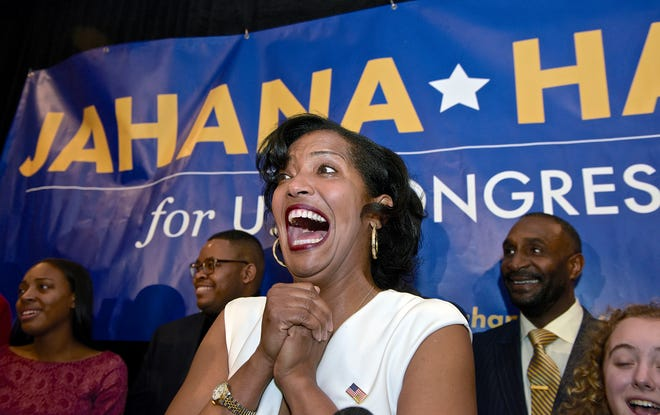 Democrat Jahana Hayes, candidate in Connecticut's 5th Congressional District, speaks during an election night rally, Tuesday, Nov. 6, 2018, in Waterbury, Conn.  (H John Voorhees III/Hearst Connecticut Media via AP) ORG XMIT: CTBRP101
