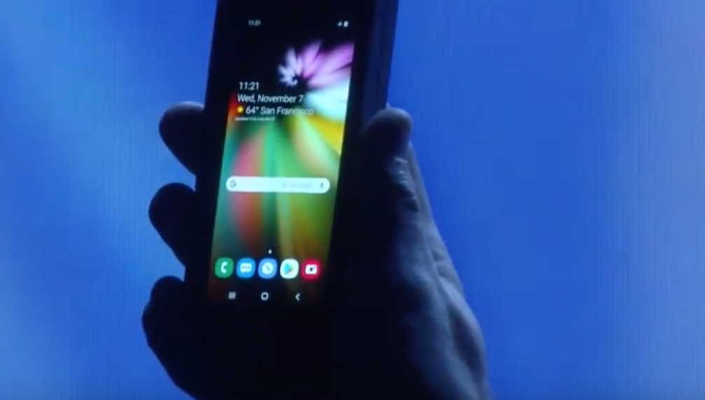 Samsung foldable display in a traditional phone...