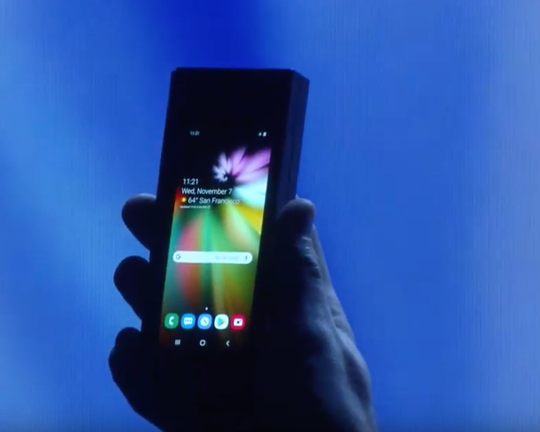 Samsung foldable display in a traditional phone mode.