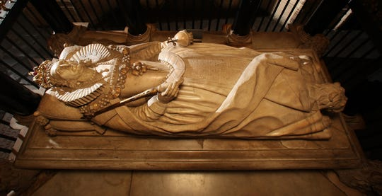 The tomb of Queen Elizabeth I in Westminster Abbey.