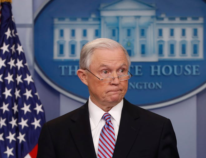 In this March 27, 2017 file photo, Attorney General Jeff Sessions pauses while speaking to members of the media during the daily briefing in the Brady Press Briefing Room of the White House in Washington.