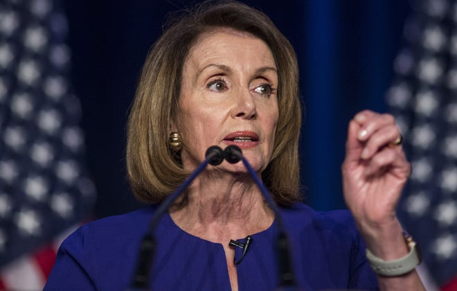 House Minority Leader Nancy Pelosi speaks during an election watch party at the Hyatt Regency on November 6, 2018, in Washington, DC. Today millions of Americans headed to the polls to vote in the midterm elections that will decide what party will control the House of Representatives and the U.S. Senate.