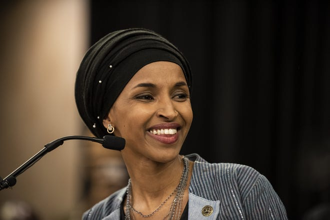 Ilhan Omar speaks at an election night party on Nov. 6, 2018, in Minneapolis. Omar is one of the first two Muslim women elected to Congress.