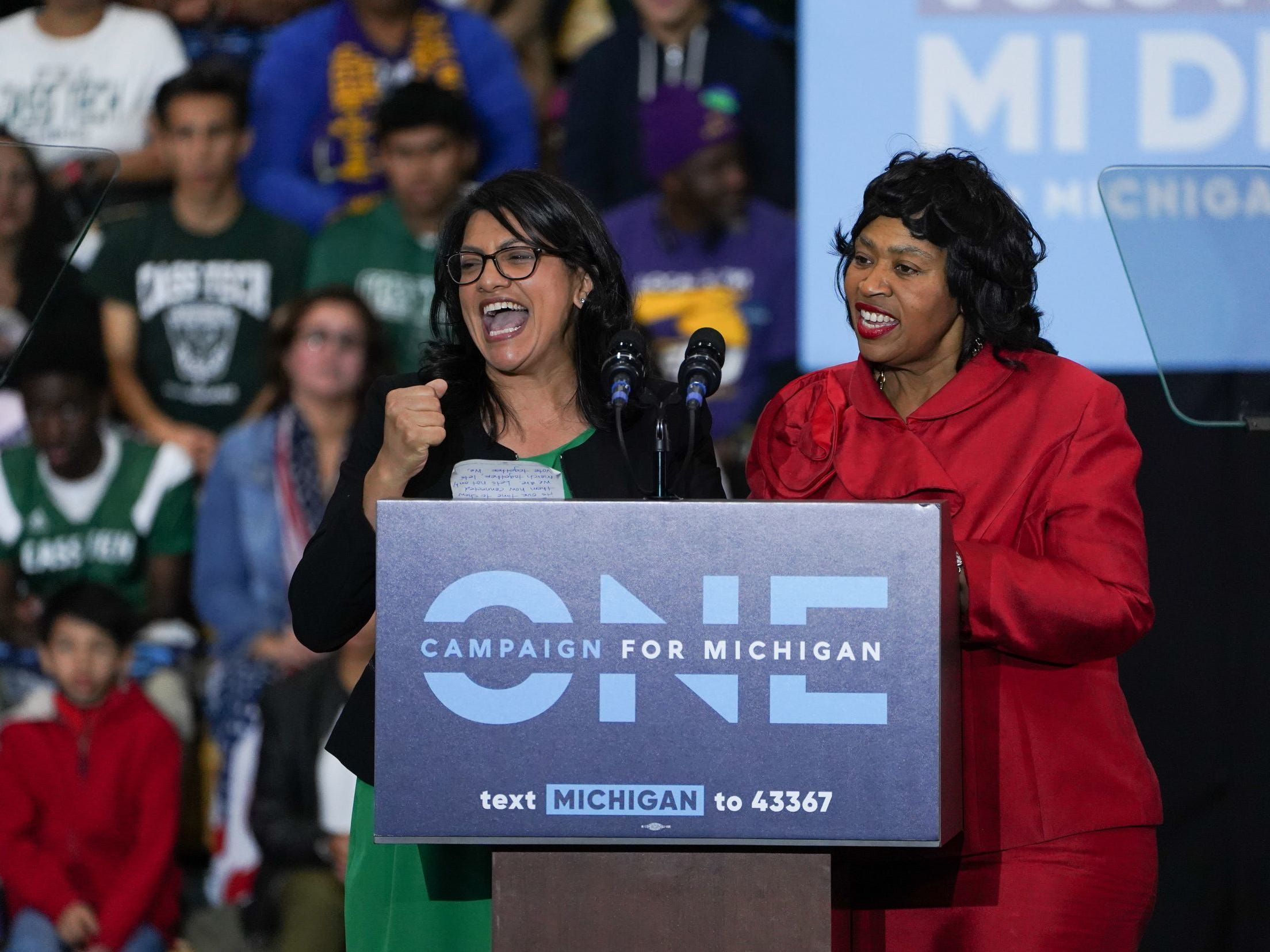 Congressional candidate Rashida Tlaib, left,  and Detroit City Council President Brenda Jones speak during the Michigan Get Out The Vote Rally by the Michigan Democratic Party on Friday, Oct. 26, 2018 at Cass Tech High School in Detroit. Tlaib is one of two Muslim women, both Democrats, to be elected to Congress.