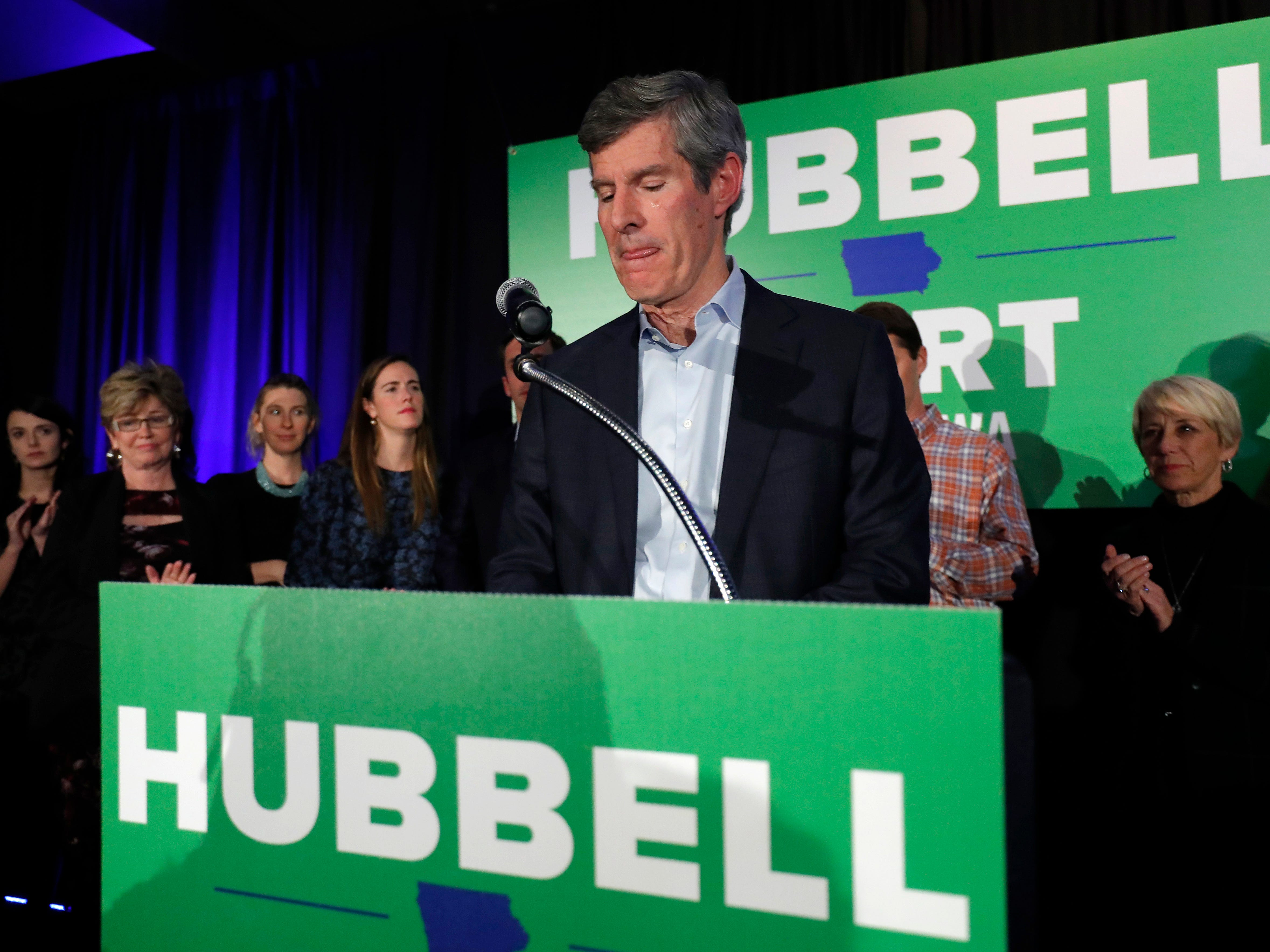 Iowa Democratic gubernatorial candidate Fred Hubbell gives his concession speech after losing the governor's race, Wednesday, Nov. 7, 2018, in Des Moines, Iowa.