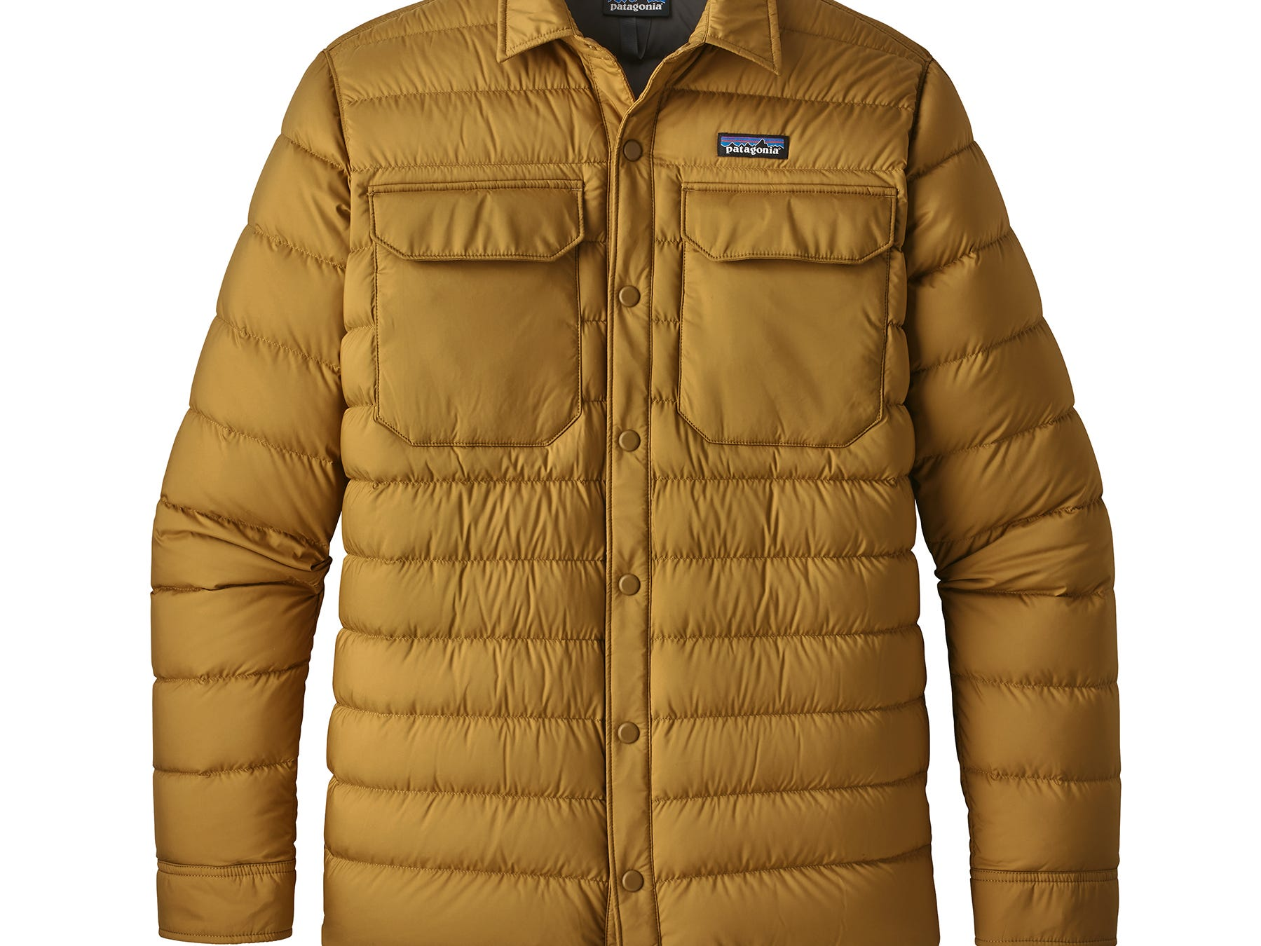 The polyester used on the outside of Patagonia's new Men's Silent Down Shirt  is 70% recycled and the 700-fill-power insulation is 100% Recycled Down (duck and goose down reclaimed from down products). Price: $229.