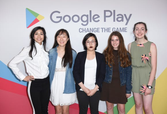 The five teenage finalists of Google's Change The Game Design Challenge.