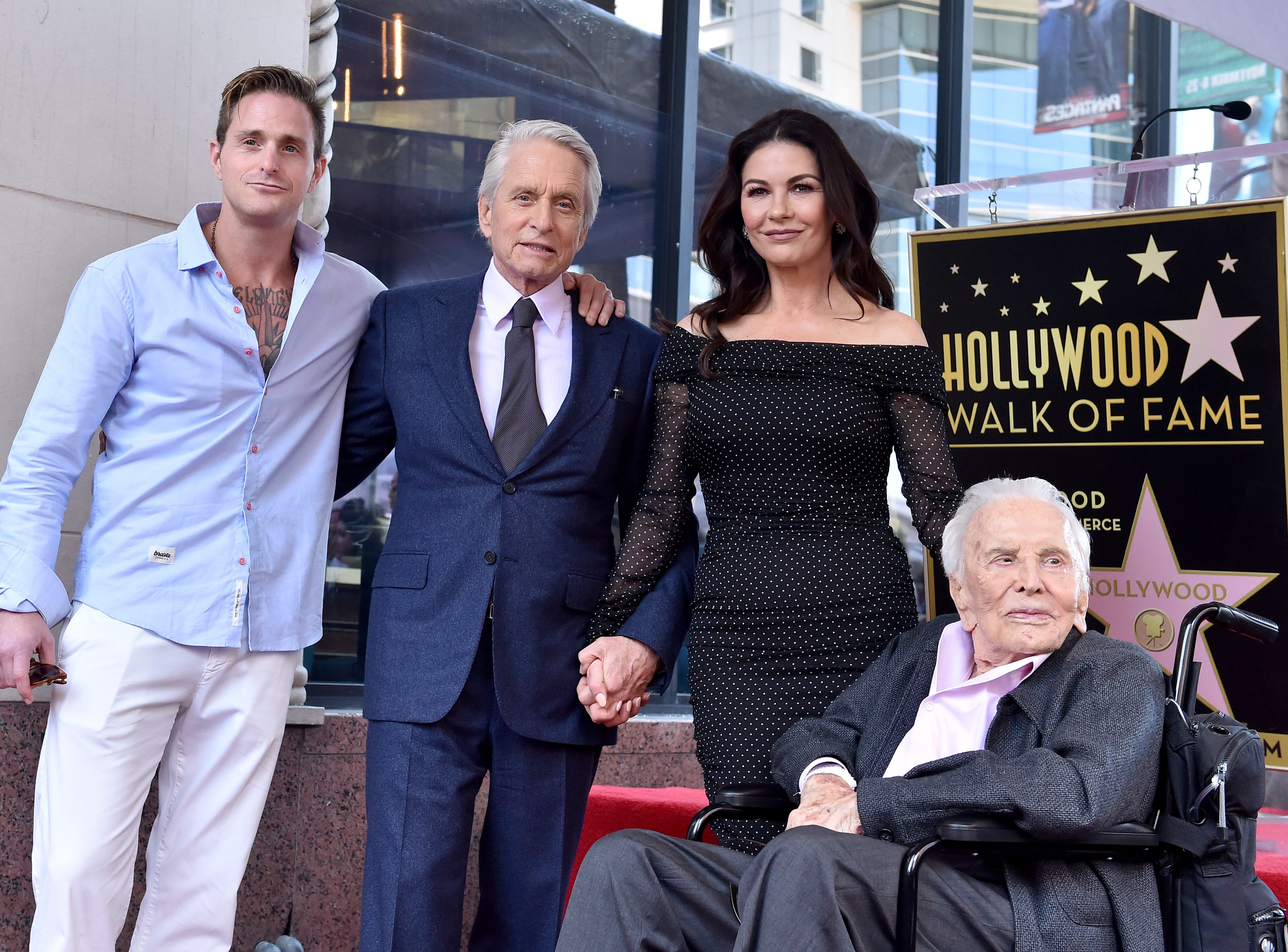 HOLLYWOOD, CA - NOVEMBER 06:  Cameron Douglas, Michael Douglas, Catherine Zeta-Jones and Kirk Douglas attend the ceremony honoring Michael Douglas with star on the Hollywood Walk of Fame on November 06, 2018 in Hollywood, California.  (Photo by Axelle/Bauer-Griffin/FilmMagic) ORG XMIT: 775248764 ORIG FILE ID: 1058404894
