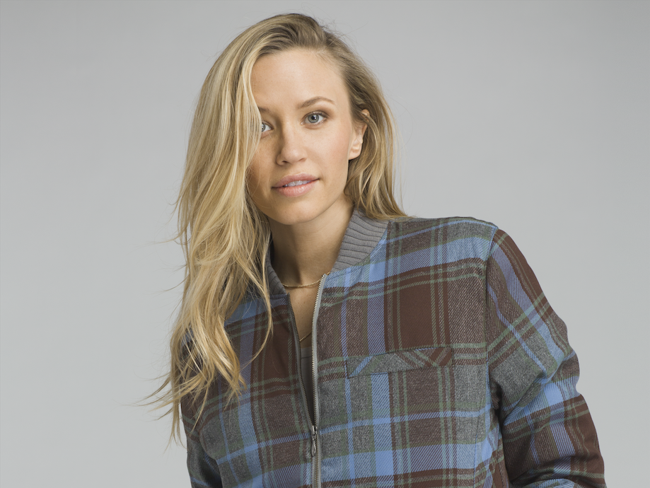 Clothing company prAna's Showdown Bomber Jacket for women is made of a recycled polyester blend fabric and bluesign-approved mElange yarn dye.  The plaid design is created with eco-friendly dye, and the garment is covered in a PFC-free durable water repellent finish. Price: $169.