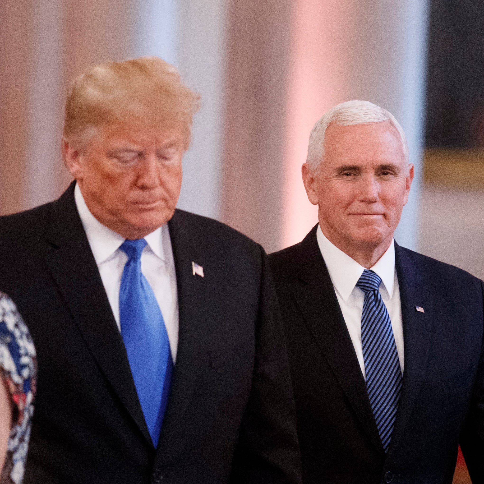 US President Donald J. Trump with Vice President Mike Pence arrives for a press conference in the East Room of the White House in Washington, DC, USA, 07 November 2018.