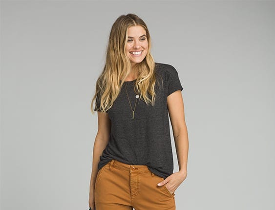Started in California in 1992, clothing and lifestyle company prAna uses sustainable materials in all of its clothing. The women's Janessa Pant, shown here, is made of organic cotton. Price: $98.