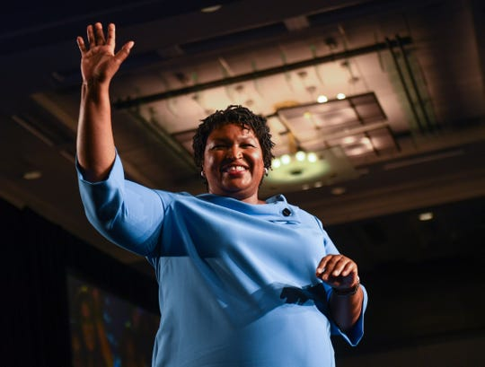 Democratic Georgia gubernatorial candidate Stacey Abrams addresses the crowd in the early morning hours on Wednesday morning at the Hyatt Regency Hotel in downtown Atlanta, GA telling supporters votes still needed to be counted and of the likely chance of a runoff election.