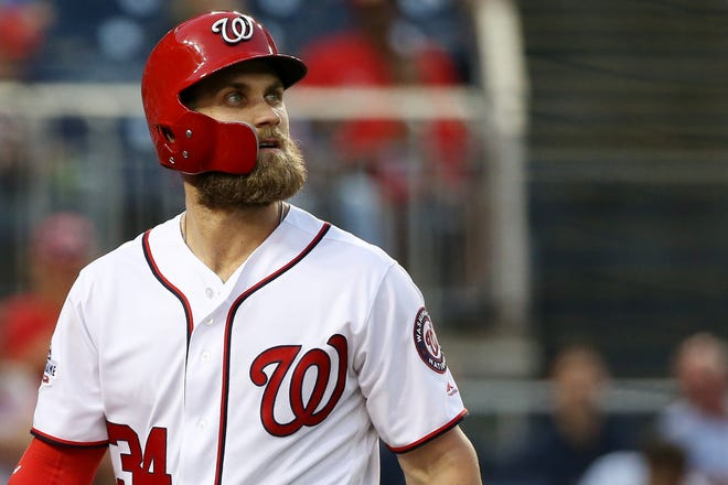 Bryce Harper's agent, Scott Boras, said on SiriusXM radio that Harper could play first base for whichever team he signs with.