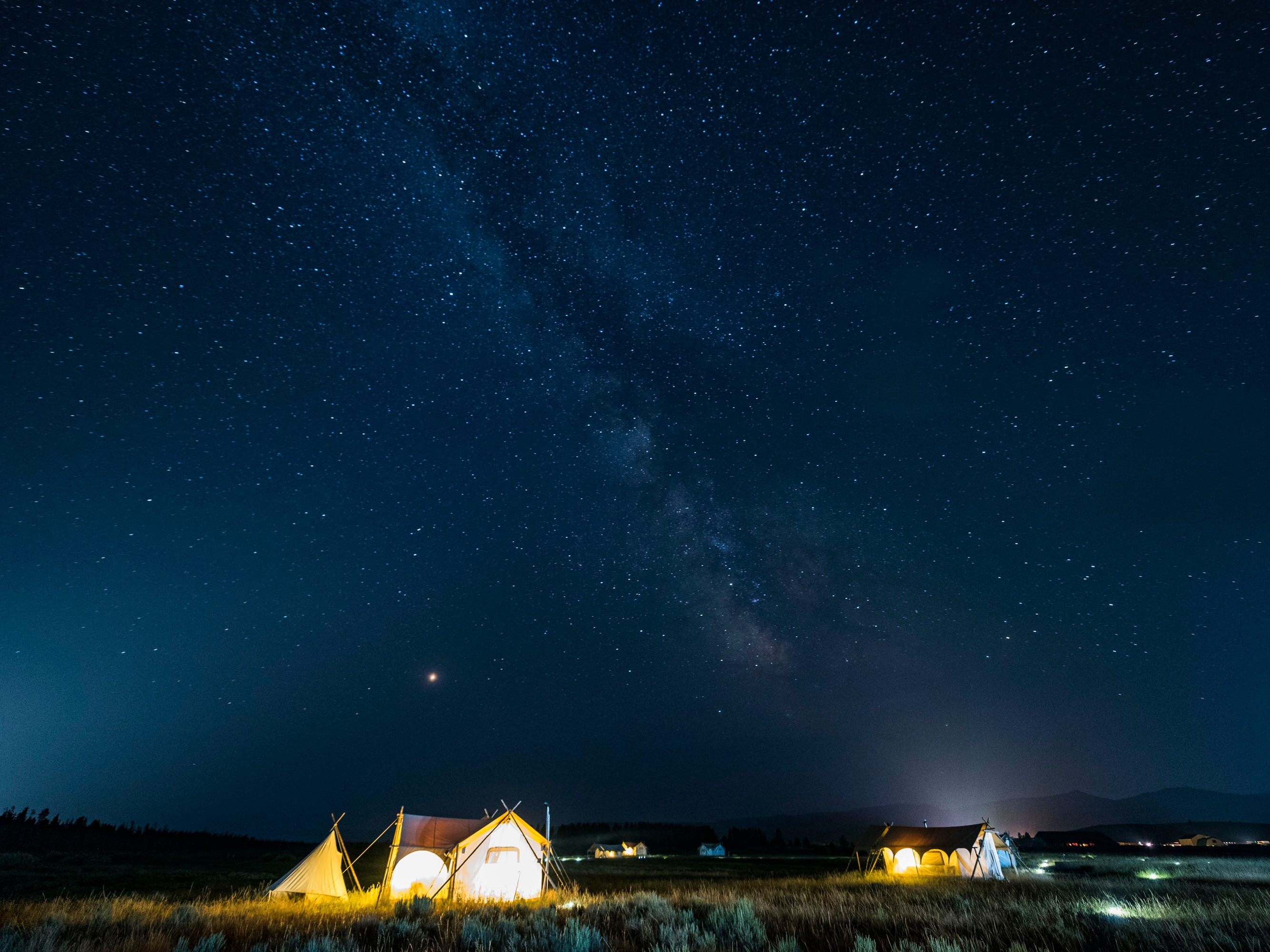 Sleeping under a starlit sky at Yellowstone Under Canvas.
