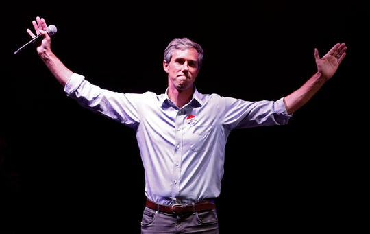 Democratic Senate candidate Beto O'Rourke at his election night watch party in El Paso, Texas, on Nov. 6, 2018.