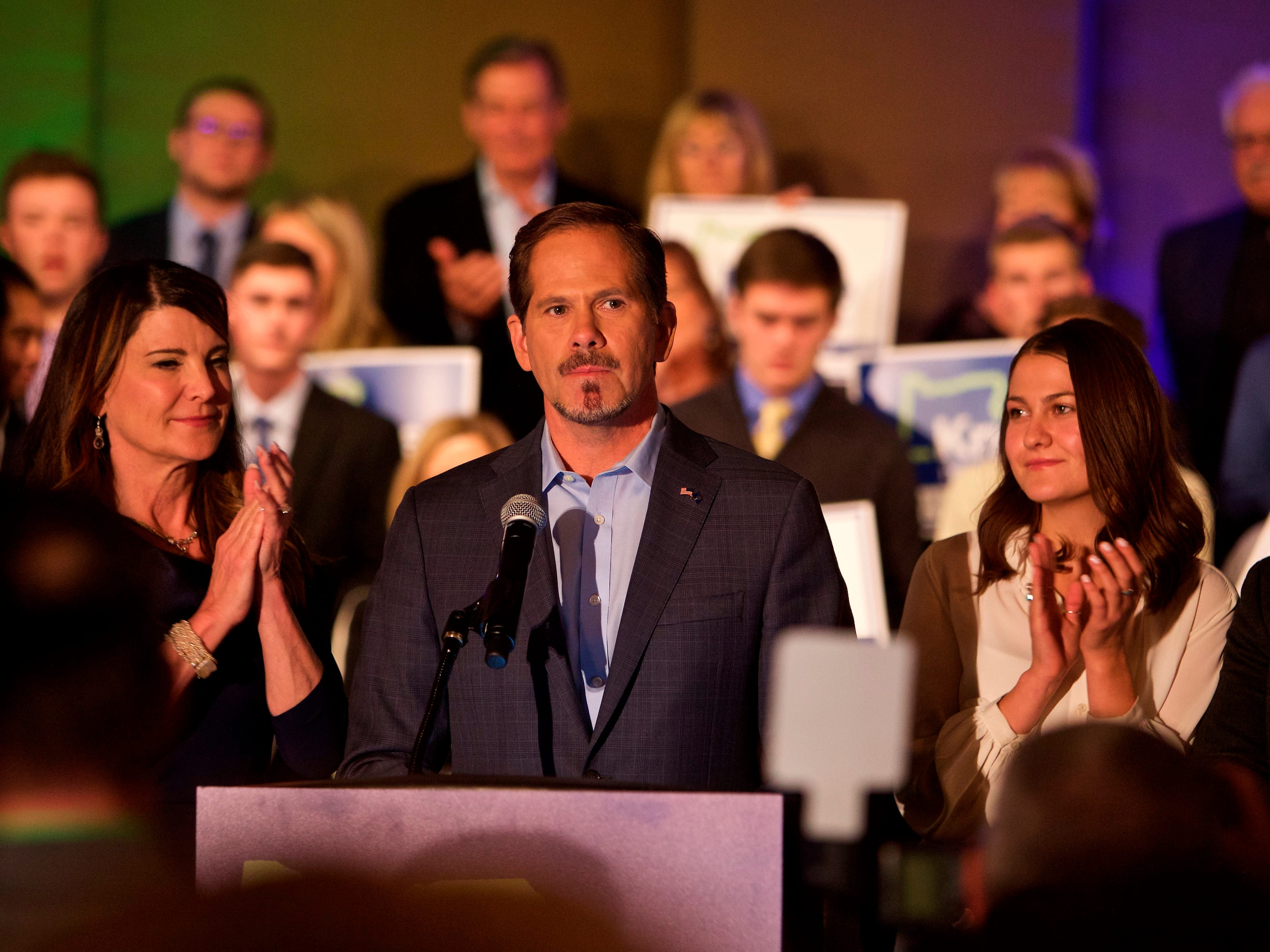 Republican gubernatorial candidate Knute Buehler gives a concession speech to supporters in Portland, Ore., Tuesday, November 6, 2018.