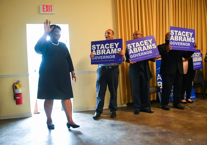 Stacey Abrams on the campaign trail in Rincon, GA one day before the elections.