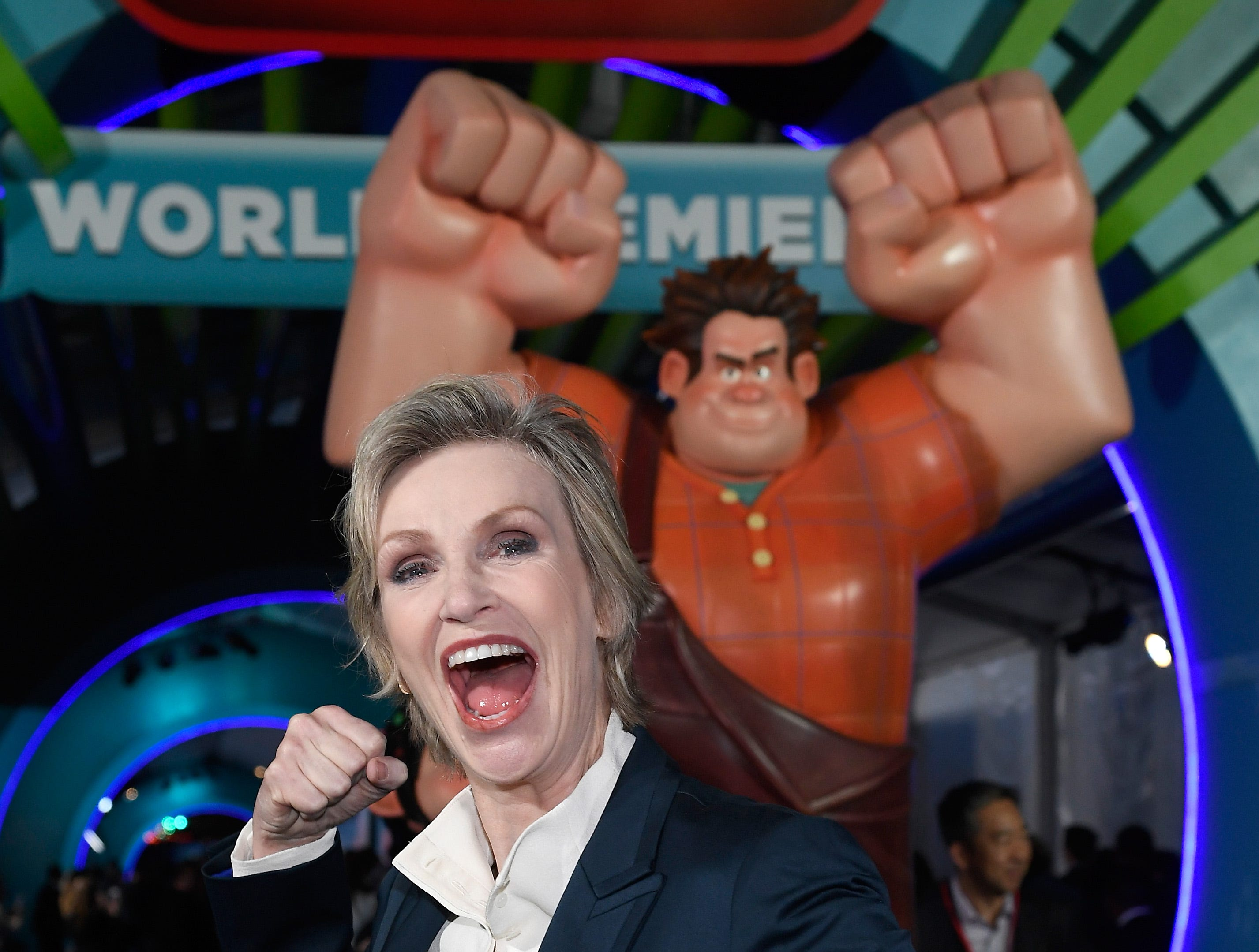 "LOS ANGELES, CA - NOVEMBER 05:  Jane Lynch attends the premiere of Disney's ""Ralph Breaks the Internet"" at El Capitan Theatre on November 5, 2018 in Los Angeles, California.  (Photo by Kevork Djansezian/Getty Images) ORG XMIT: 775246757 ORIG FILE ID: 1057840910"