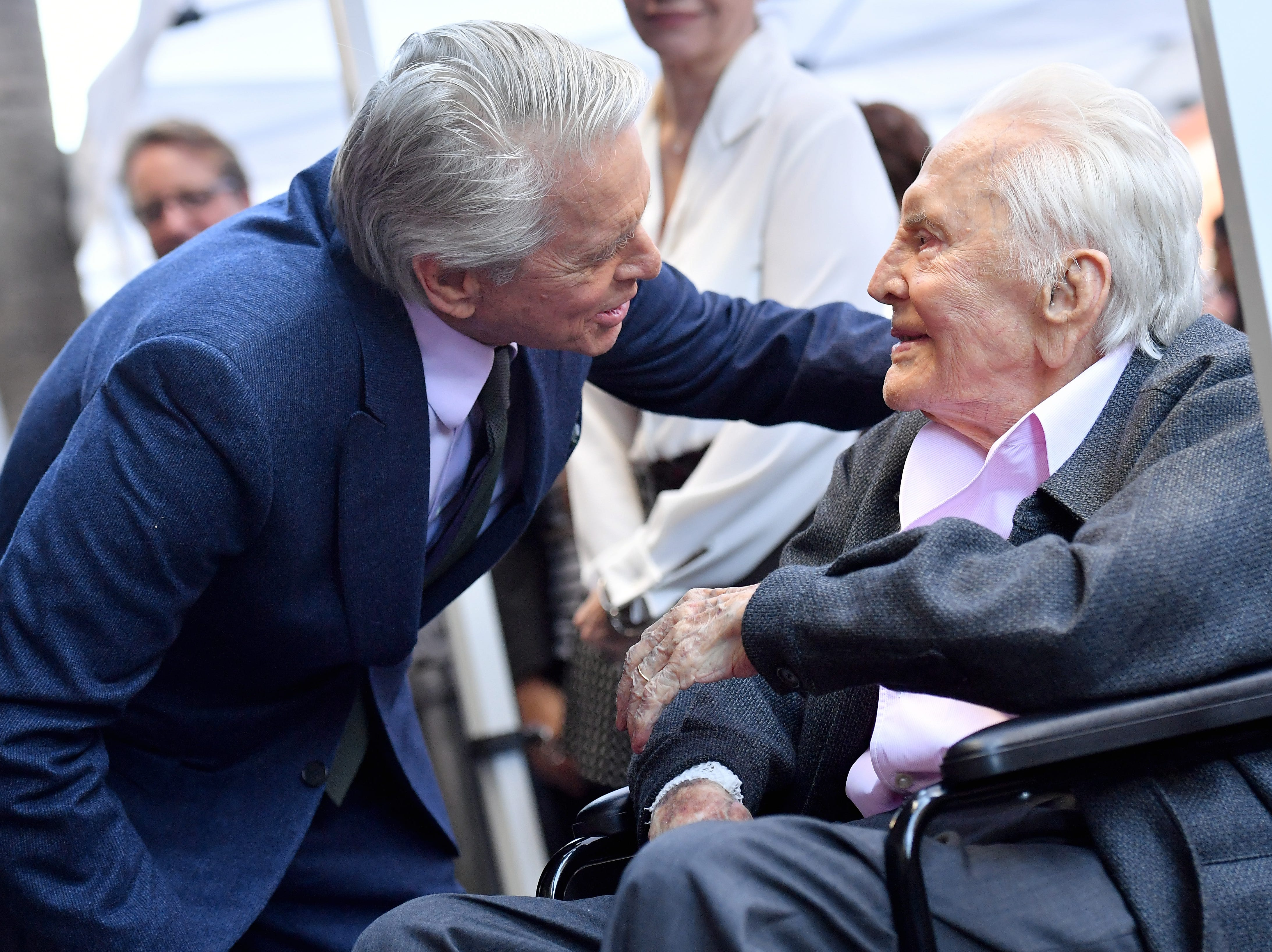 HOLLYWOOD, CA - NOVEMBER 06:  Michael Douglas and Kirk Douglas attend the ceremony honoring Michael Douglas with star on the Hollywood Walk of Fame on November 06, 2018 in Hollywood, California.  (Photo by Axelle/Bauer-Griffin/FilmMagic) ORG XMIT: 775248764 ORIG FILE ID: 1058349472