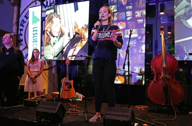 Actress Olivia Wilde, daughter of Democrat Leslie Cockburn, speaks at a watch party in Charlottesville during election night 2018.
