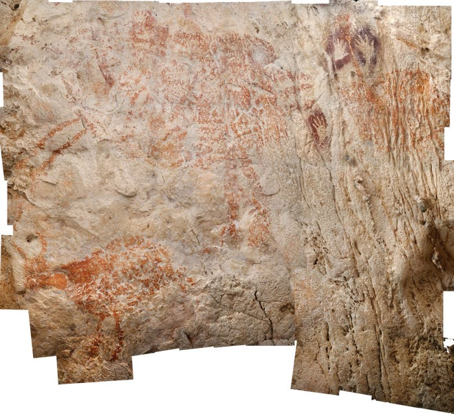 The world's oldest figurative artwork, which was discovered in Borneo, is at least 40,000 years old.