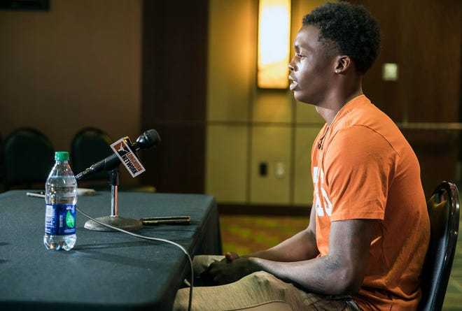 University of Texas basketball player Andrew Jones speaks at an October news conference.
