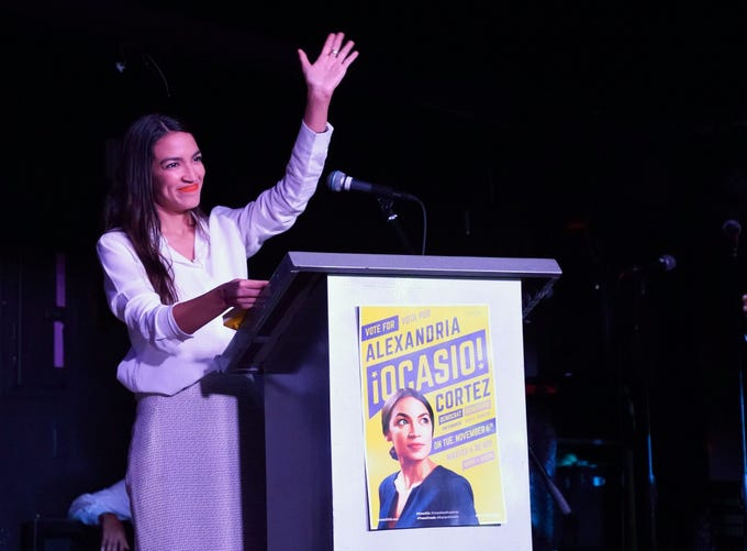 Alexandria Ocasio-Cortez arrives on stage to speak to her supporters during her election night party in the Queens Borough of New York on Nov. 6, 2018. 28-year-old Alexandria Ocasio-Cortez from New Yorks 14th Congressional district won Tuesdays election, defeating Republican Anthony Pappas and becomes the youngest woman elected to Congress.
