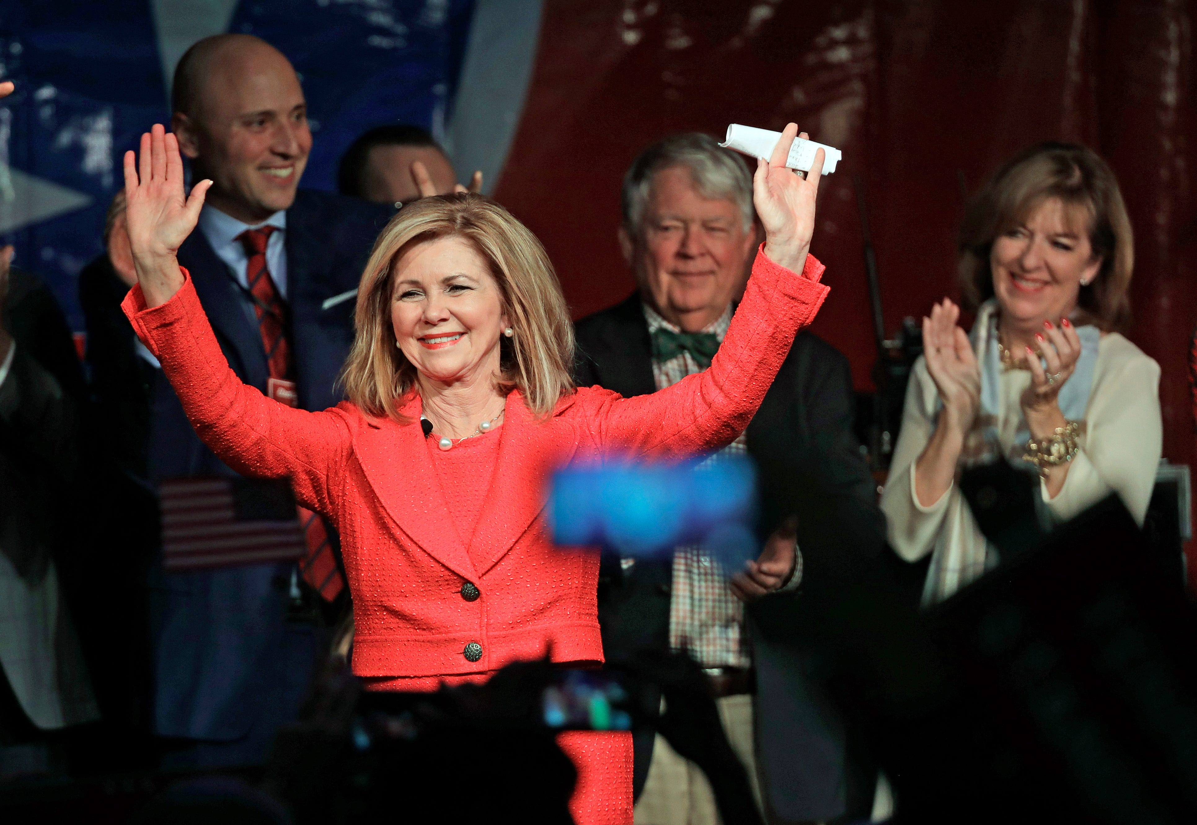Rep. Marsha Blackburn, R-Tenn., greets supporters after she was declared the winner over former Gov. Phil Bredesen in their race for the U.S. Senate Tuesday, Nov. 6, 2018, in Franklin, Tenn. (AP Photo/Mark Humphrey) ORG XMIT: TNMH144