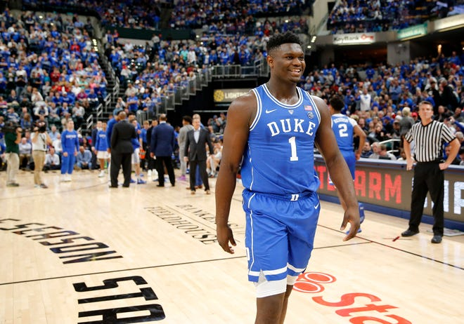 Duke Blue Devils forward Zion Williamson (1) during player introductions before playing against the Kentucky Wildcats during the Champions Classic at Bankers Life Fieldhouse.