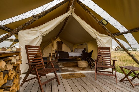 """Two nights in a large, safari-style tent at Yellowstone Under Canvas in West Yellowstone, Montana, provide a great introduction to the burgeoning concept of """"glamorous"""" camping."""
