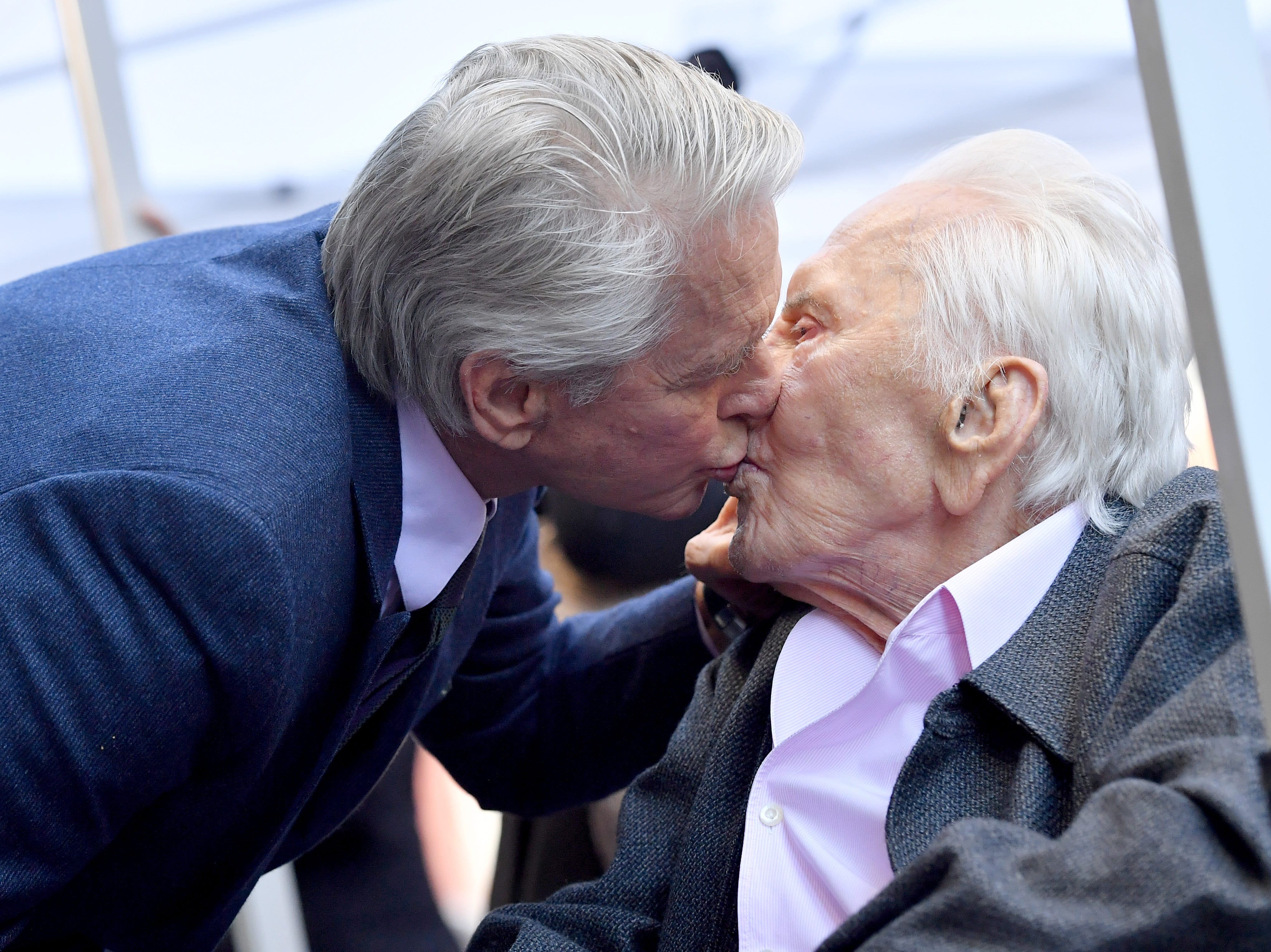 HOLLYWOOD, CALIFORNIA - NOVEMBER 06: Michael Douglas and Kirk Douglas attend the ceremony honoring Michael Douglas with star on the Hollywood Walk of Fame on November 06, 2018 in Hollywood, California. (Photo by Axelle/Bauer-Griffin/FilmMagic) ORG XMIT: 775248764 ORIG FILE ID: 1058348872