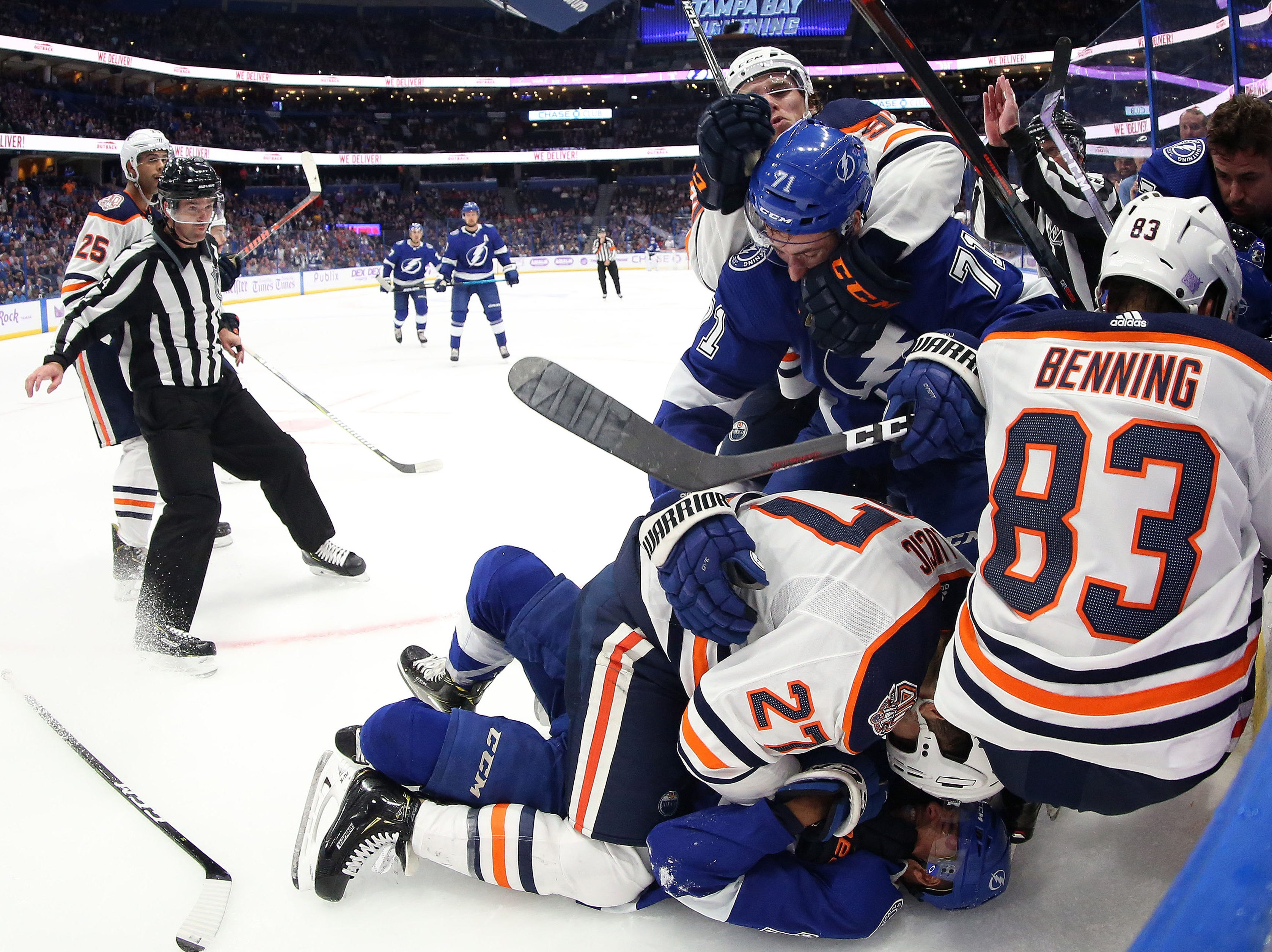 Nov. 6: The Edmonton Oilers and Tampa Bay Lightning get into a third-period scrum.
