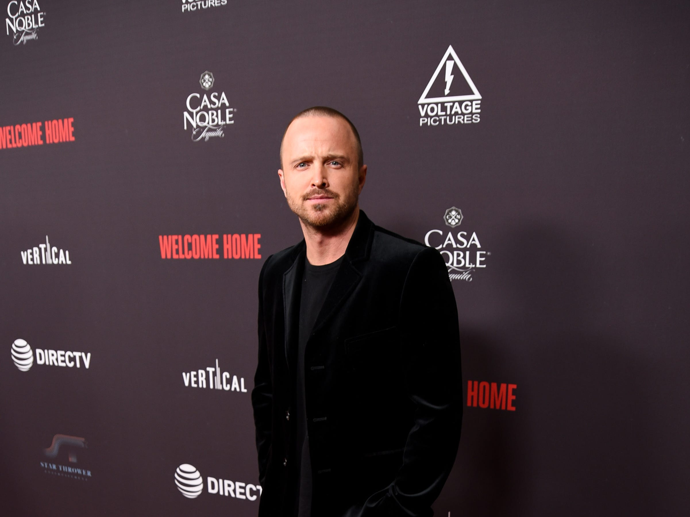 "WEST HOLLYWOOD, CALIFORNIA - NOVEMBER 04: Aaron Paul attends ""Welcome Home"" Premiere at The London West Hollywood on November 04, 2018 in West Hollywood, California. (Photo by Presley Ann/Getty Images) ORG XMIT: 775245895 ORIG FILE ID: 1063587906"