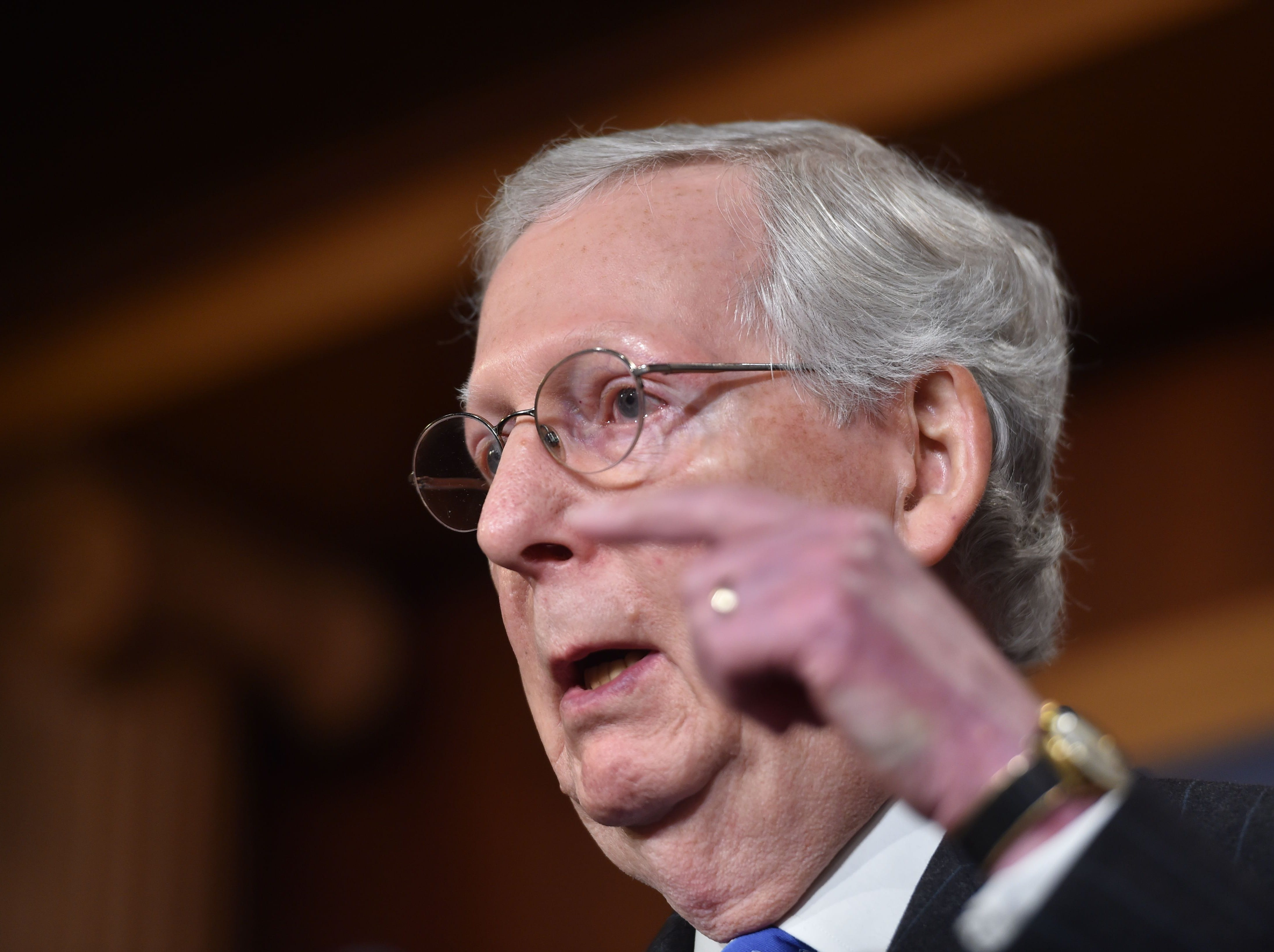 US Senate Majority Leader Mitch McConnell (R-KY) holds a media availability on November 7,2018 on Capitol Hill in Washington,DC.