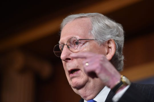 Senate Majority Leader Mitch McConnell, R-Ky., speaks to reporters Nov. 7, 2018, on Capitol Hill in Washington, D.C.