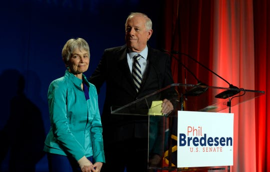 Democratic Senate candidate, former Gov. Phil Bredesen, leaves with his wife Andrea Conte after he lost to Rep. Marsha Blackburn in their race for the U.S. Senate, Nov. 6, 2018, in Nashville, Tenn.