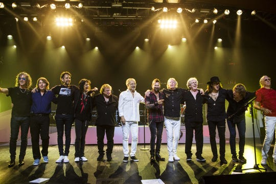 """Current and original members of rock band Foreigner, who will play four shows together as part of """"Double Vision: Then and Now."""""""