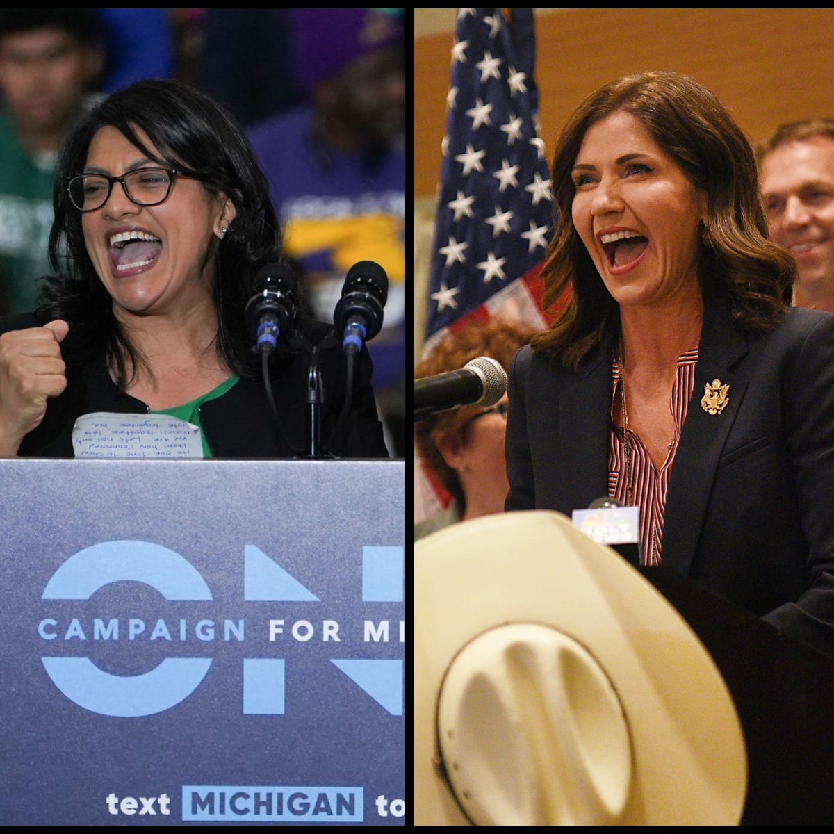 (Left to right) Rashida Tlaib, Kristi Noem and Donna Shalala were among the historic number of women elected across the political spectrum in 2018. Tlaib and Shalala were elected to the House of Representatives for Minnesota and Florida, respectively. Noem will serve as the first female governor of South Dakota.