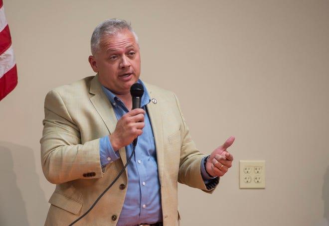 Denver Riggleman speaks during a forum at the Lynchburg Regional Business Alliance in Lynchburg, Va., Monday, Oct. 22, 2018.
