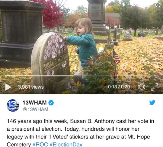 A tweet from @13WHAM shows Susan B. Anthony's gravesite in a video.