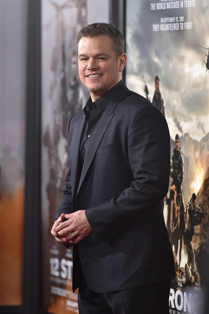"""NEW YORK, NY - JANUARY 16:  Actor Matt Damon attends the """"12 Strong"""" World Premiere at Jazz at Lincoln Center on January 16, 2018 in New York City.  (Photo by Mike Coppola/WireImage) ORG XMIT: 775100444 ORIG FILE ID: 905801808"""
