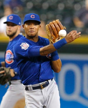 Chicago Cubs shortstop Addison Russell (27) during a baseball game against the Arizona Diamondbacks, Tuesday, Sept. 18, 2018, in Phoenix.